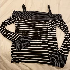 WHBM off shoulder black and white shirt